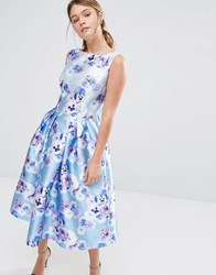 Chi Chi London Sateen Prom Dress In Floral Print Blue Purple Floral Multi