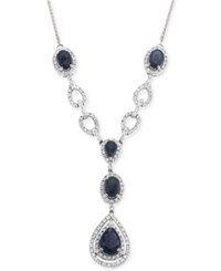 Macy's Sapphire 3 1 10 Ct. T.W. And Diamond 1 2 Ct. T.W. Teardrop Lariat Necklace In 14K White Gold