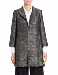 Eileen Fisher Metallic Pleated Back Blazer Grey