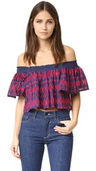 Endless Rose Woven Short Sleeve Top Navy Fuchsia