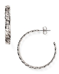 Nadri Chain Hoop Earrings Silver
