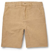 Our Legacy Linen And Cotton Blend Shorts Neutrals