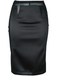 Paco Rabanne Semi Sheer Pencil Skirt Black