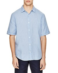 The Men's Store At Bloomingdale's Linen Stripe Regular Fit Button Down Shirt Blues
