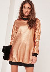 Missguided Contrast Foil Sweater Dress Rose Gold Copper