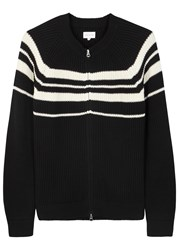 Gant Black Striped Ribbed Cotton Cardigan
