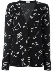 Saint Laurent Music Note Printed Cardigan Black