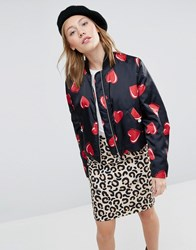 Love Moschino All Over Heart Print Cropped Bomber Jacket Black