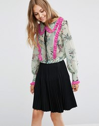 Asos Bird Print Floral Blouse With Contrast Pleat Multi