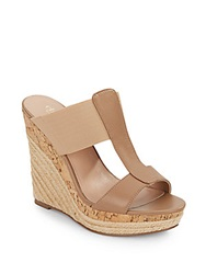 Charles By Charles David Alto Leather And Elastic Espadrille Wedge Sandals Nude