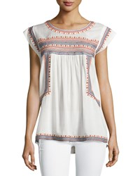 Max Studio Embroidered Gauze Cap Sleeve Blouse Off White Navy Rust