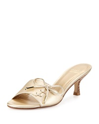 Stuart Weitzman Tablet Metallic Bow Slide Cava