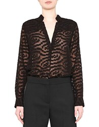 French Connection Ruby Sheer Long Sleeve Top Black