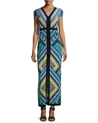 Laundry By Shelli Segal Printed V Neck Front Slit Maxi Dress Princess Blue Multi