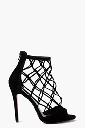 Boohoo Peeptoe Lattice Cage Shoe Boot Black