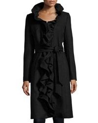 Milly Long Ruffled Twill Coat Black