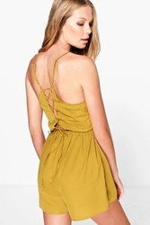 Boohoo Lace Up Back Strappy Playsuit Olive