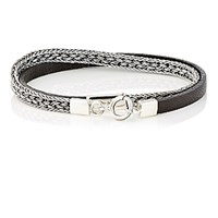 Caputo And Co. Co Men's Silver Chain Leather Double Wrap Bracelet Silver