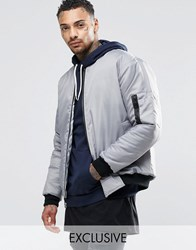 Reclaimed Vintage Ma1 Reversible Bomber Jacket Grey
