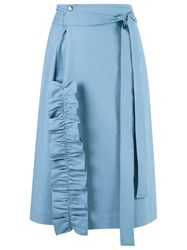 Reinaldo Lourenco High Waisted Skirt Blue