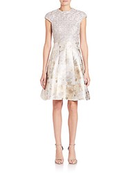 Kay Unger Lace Bodice Jacquard Fit And Flare Dress Silver Multicolor
