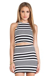 Motel Zena Crop Top Black And White