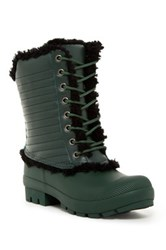 Hunter Original Genuine Shearling And Leather Lace Up Boot Green