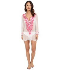 Ella Moss Stella Embroidered Tunic Cover Up Cream Women's Swimwear Beige