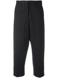 Alberto Biani Striped Cropped Tapered Trousers Grey