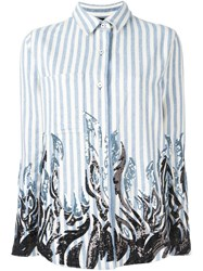 Filles A Papa Tribal Sequinned Striped Shirt Blue