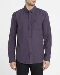 Rvca Burgundy That'll Do Twist Contrast Button Down Collar Shirt