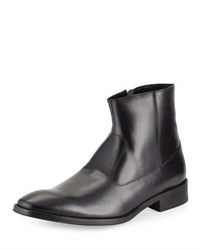 Kenneth Cole To Gather Leather Zip Up Boot Black