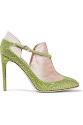 Valentino Velvet Paneled Embellished Suede Pumps Lime Green
