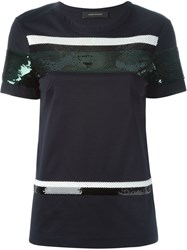 Cedric Charlier Cedric Charlier Paillettes Embellished T Shirt Blue