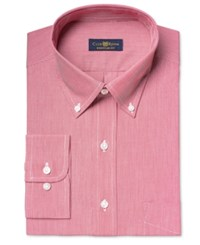 Club Room Estate Men's Classic Fit Wrinkle Resistant Americana Stripe Dress Shirt Only At Macy's Red