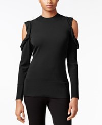 Thalia Sodi Ruffled Cold Shoulder Sweater Only At Macy's Deep Black