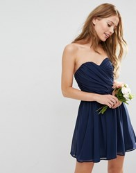 Asos Wedding Chiffon Bandeau Mini Dress Navy