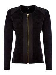 Episode Zip Up Jacket With Waffle Texture Front Black