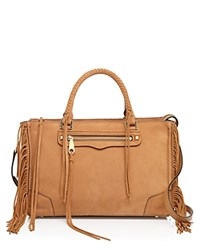 Rebecca Minkoff Fringe Regan Satchel Almond