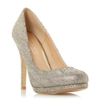 Head Over Heels Andrea Round Toe Platform Court Shoes Gold