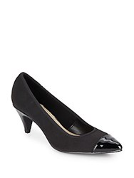Ellen Tracy Liza Patent Leather Trimmed Pumps Black