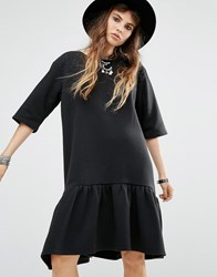 Rokoko Peplum Hem T Shirt Dress Black