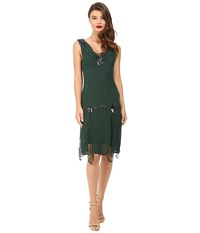 Unique Vintage Hemingway Chiffon Flapper Dress Emerald Women's Dress Green