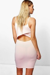 Boohoo Cut Out Back Ribbed Bodycon Dress Nude