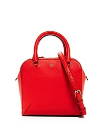 Tory Burch Robinson Pebbled Mini Satchel Poppy Red