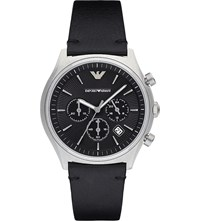 Emporio Armani Ar1975 Stainless Steel And Leather Chronograph Watch