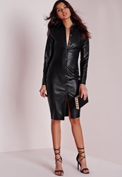 Missguided Faux Leather Fitted Midi Shirt Dress Black