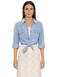 Forte Couture Cropped Embellished Cotton Denim Shirt