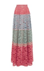 Alexis Esma Long Colorblock Lace Skirt Multi