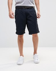 Esprit Chino Shorts With Faux Leather Belt Navy